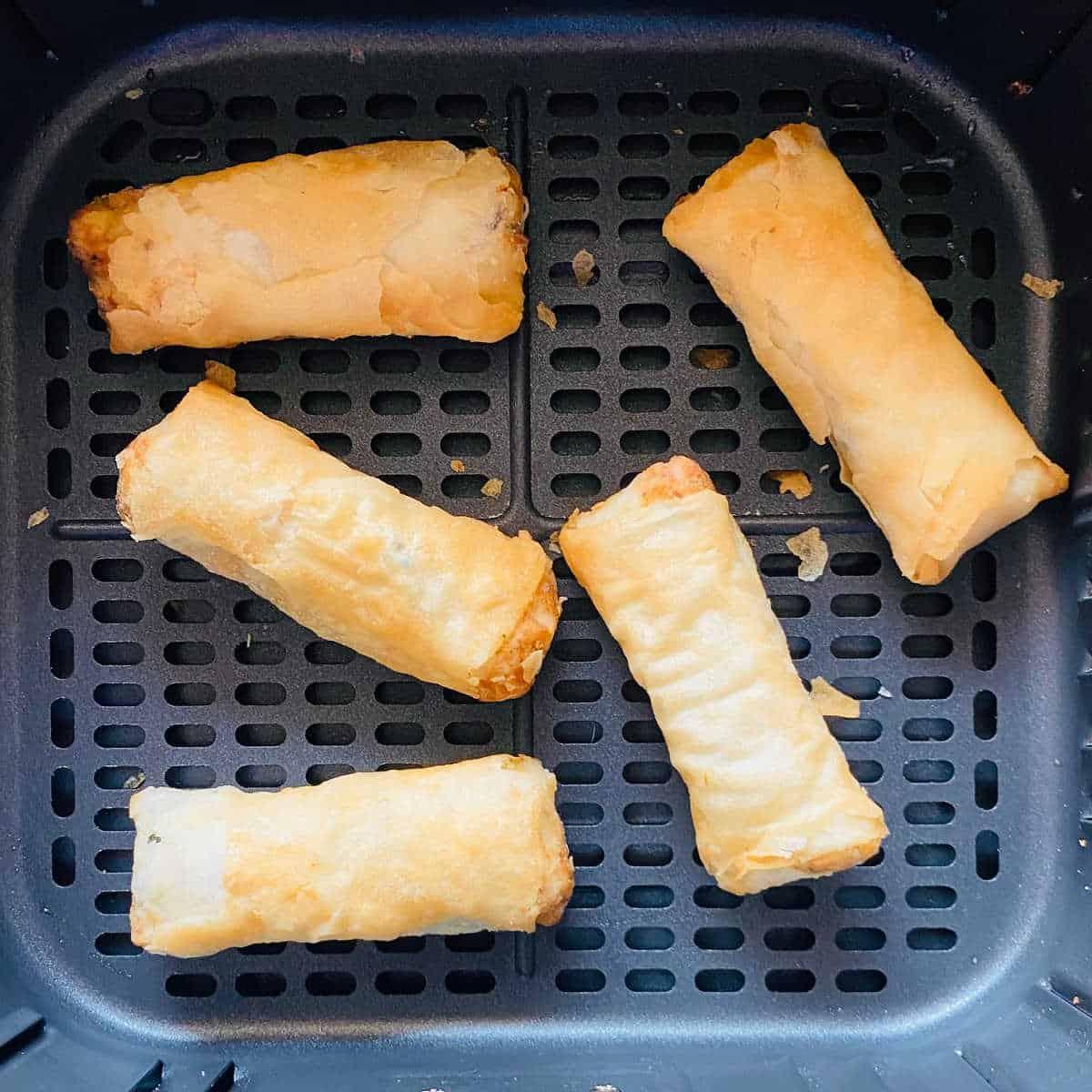 spring rolls aka lumpia frozen in air fryer basket