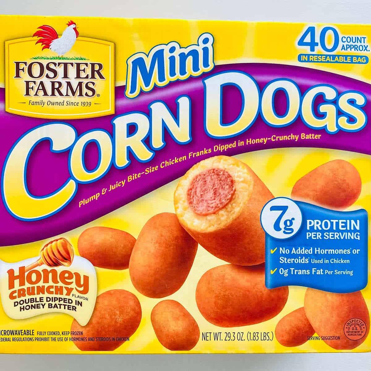 box of foster farms frozen mini corn dogs