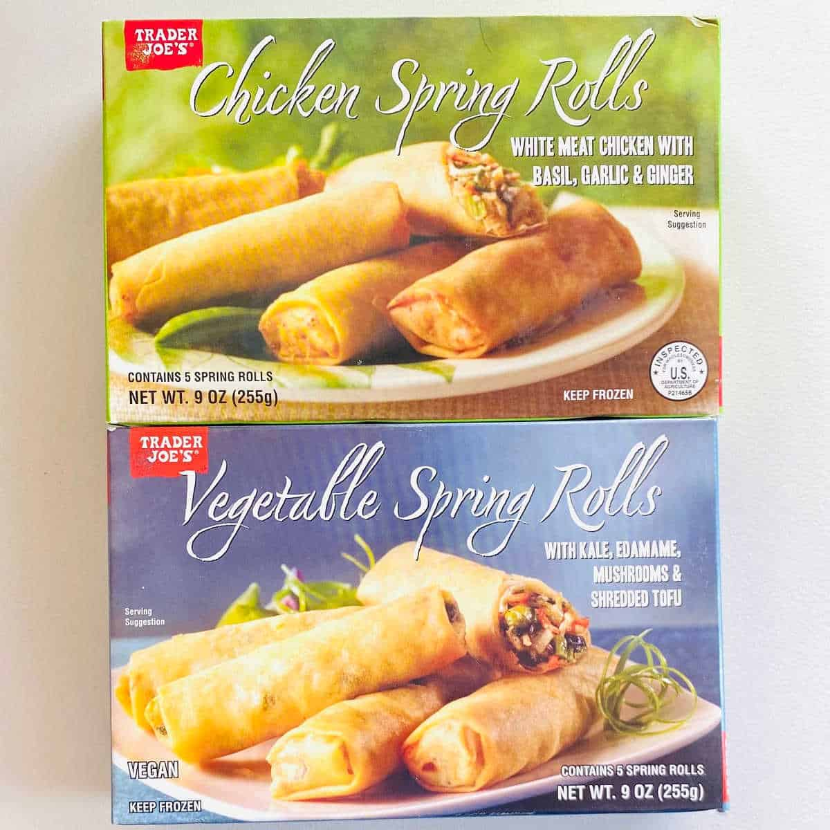 trader joes frozen spring rolls boxes of vegetable spring rolls and chicken spring rolls