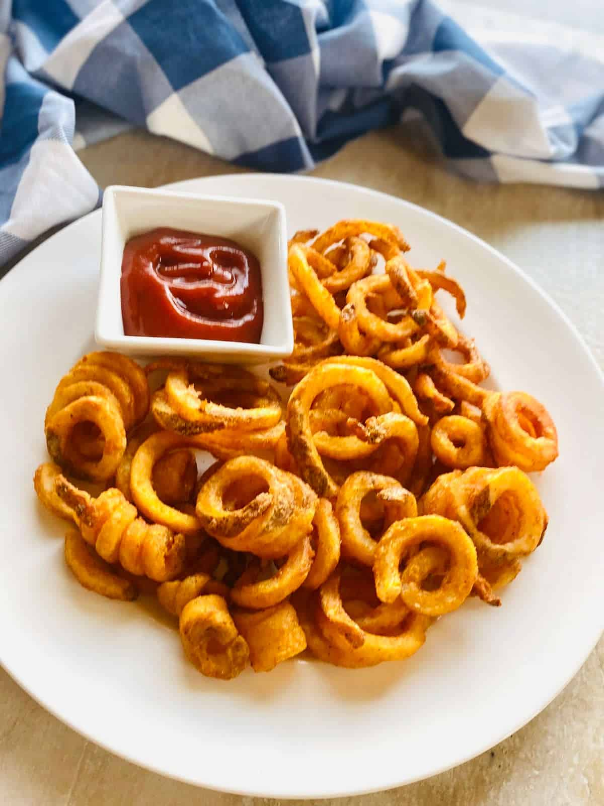 arby's air fryer curly fries on a plate next to ketchup