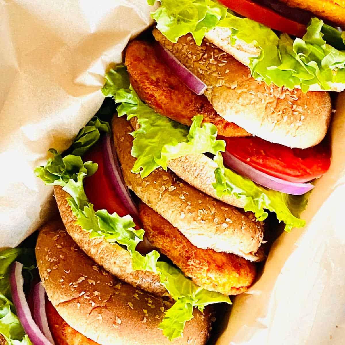 air fryer frozen chicken patties sandwiches in a box