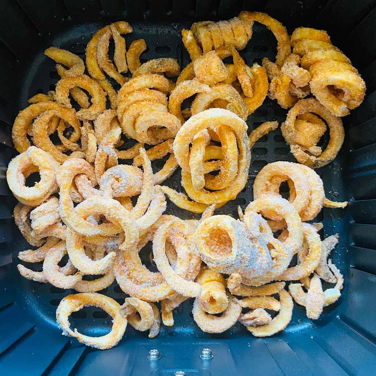frozen curly fries in air fryer basket